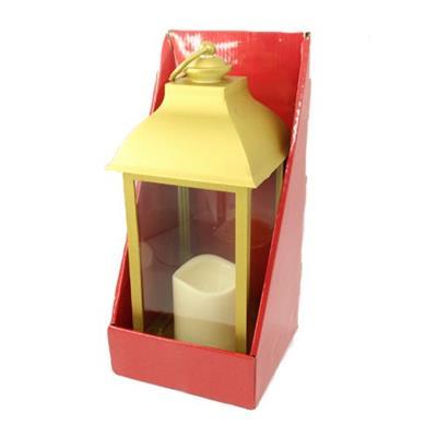 Lanterna Natalina Vela à Luz LED SantiniChristmas 048-915112 Plástico Funcionamento Elétrico Dourado