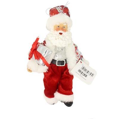 Papai Noel Decoração de Natal Santini Christmas 048-454224 Vermelho e Prata