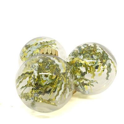 Bolas de Natal com 6 Peças Santini 047-952621 Transparente com Laminado Dourado e Prata