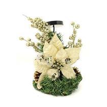 Candelabro com Arranjo Floral Natalino Santini Christmas 048-575701 Flor Bege