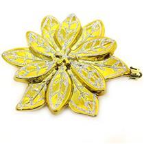 Conjunto de Adornos Florais para Árvore de Natal 2 Peças Santini 048-956434 Dourado e Prata