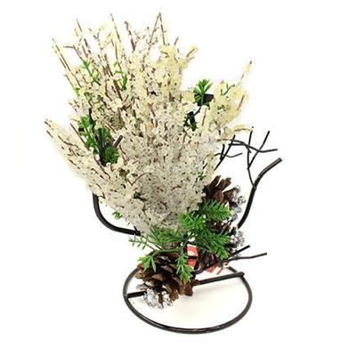 Candelabro com Arranjo Floral Natalino Santini Christmas 048-575785 Flor Bege