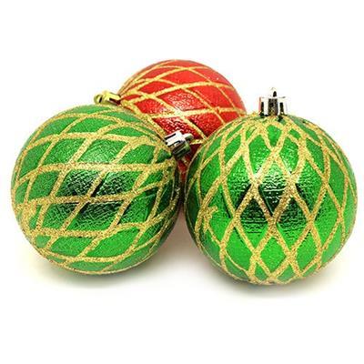 Bolas de Natal com 6 Peças Santini 048-956265 Vermelho e Verde