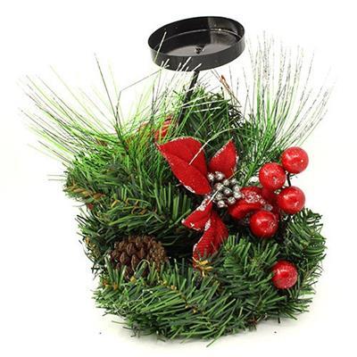 Candelabro com Arranjo Floral Natalino Santini Christmas 048-575746 Flor Vermelha