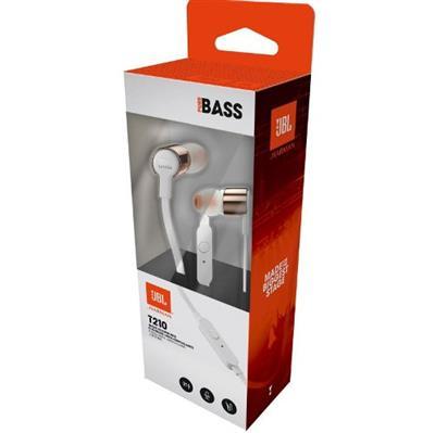 Fone de Ouvido JBL In Ear T210 - Branco e Dourado