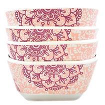 Conjunto de Tigelas 4 Peças Latcor 21484 Plástico Melamina Branco e Rosa com Ilustração Florais