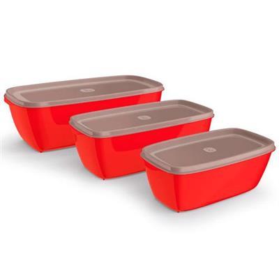 Conjunto de Potes para Mantimentos 3 Peças Uz UZ230 Plástico Vermelho