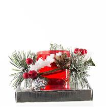 Enfeite Natalino Candelabro Santini Christmas 048-065255 Plástico e Vidro Prateado e Vermelho
