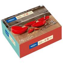 Conjunto para Sobremesa 12 Peças Jornata Brinox 1640/150 Inox e Plástico Vermelho