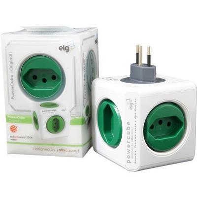 Filtro de Linha ELG Power Cube PWCR5 com 5 Tomadas Branco e Verde