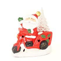 Adorno Natalino Papai Noel na Moto com Luz LED Santini 067-230191