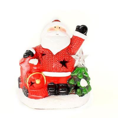 Adorno Natalino Papai Noel na Neve com Trem com Luz LED Santini 067-230197