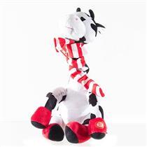 Vaca de Pelúcia Natalina Musical Santini Christmas 048-246538 Tamanho 35cm Branca Preta e Vermelha