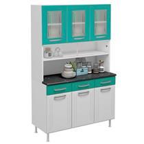 Armário de Cozinha 6 Portas 3 Gavetas Telasul Turquesa 804211 Portas com Vidro Aço Branco e Verde