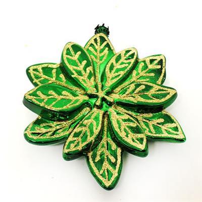 Conjunto de Adornos Florais para Árvore de Natal 2 Peças Santini 048-956435 Verde e Vermelho