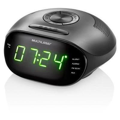 Rádio Relógio Led Multilaser SP202 5w Display Verde