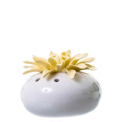 Vaso de Porcelana Latcor LRP60156-1 Flor Branco e Amarelo