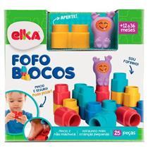 Brinquedo Fofo Blocos 25 Peças Elka 1011 Plástico Vinil Colorido