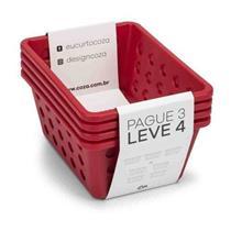 Kit de Cestas Pequenas 4 Peças Coza 99245/4053 Plástico Vermelho