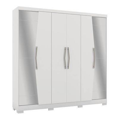 Roupeiro 6 Portas e 3 Gavetas Kappesberg G543 com Espelho e Pés MDP Branco